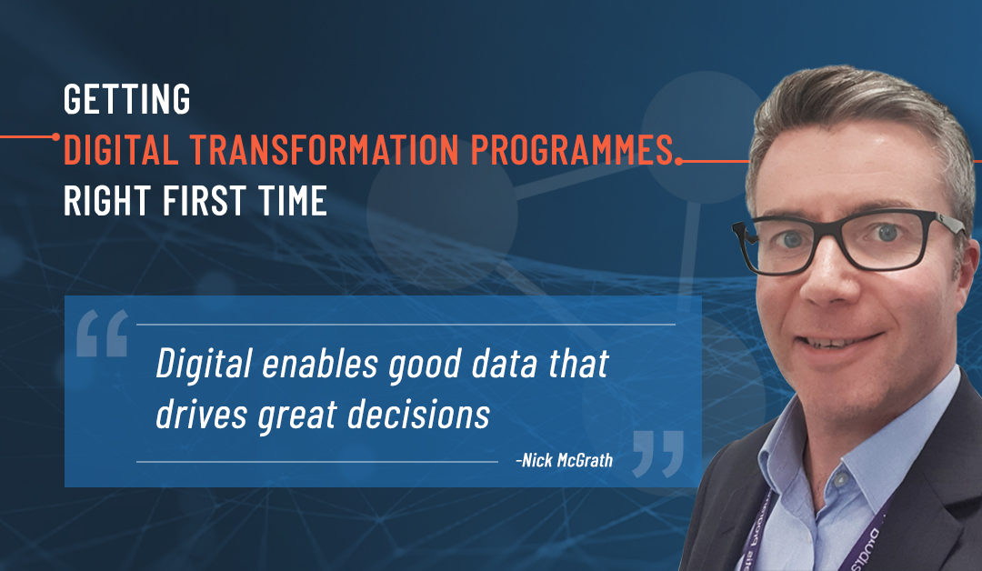 Depicts a photo of Nick McGrath with a Digital Transformation background (Strategy)